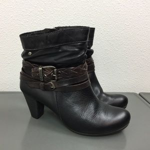 Pikolinos Black Brown Leather Ankle Boots 38 7.5-8